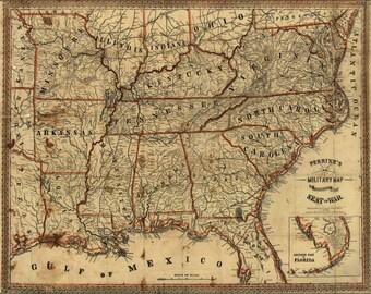 Civil war map Etsy
