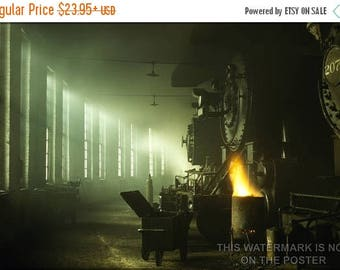 40% OFF SALE Poster, Many Sizes Available; Locomotive Roundhouse Steam Locomotives Of The Chicago & Northwestern Railway