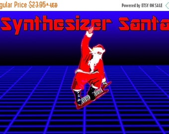 20% Off Sale - Poster, Many Sizes Available;  Synthesizer Santa Keytar Snowboard