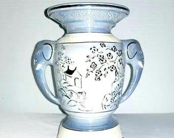 Vintage Lusterware Vase,Vintage Asian Vase,Elephant Vase,Elephant Handled Vase,Pagoda,Footed Vase,Artist Signed,Lusterware,Japan,Urn Vase