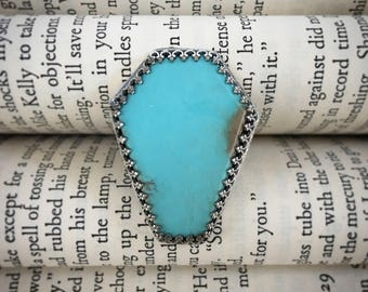 DROP DEAD Coffin Shaped Campitos Turquoise Ring