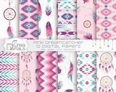 Dreamcatcher - 12 rose et mauve tribal numérique papiers - Bohème & plumes printables - téléchargement DIRECT