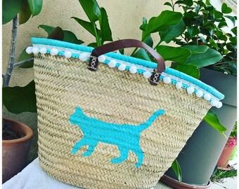 Big basket with personalized customized braided Palm Beach