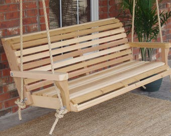 Brand New 6 Foot Cedar Wood Classic Porch Swing with Hanging Rope - Free Shipping
