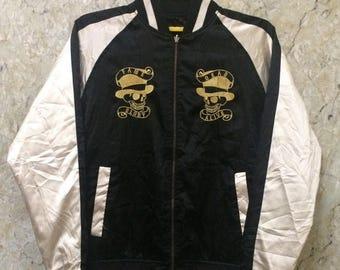 Birthday Sale Vintage Reversible Embroidered Japanese Souvenirs Sukajan Varsity Jacket, Dragon Design and Skull Design, The Gamble Race Size