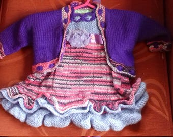 Hand knitted cardigan and dress set to fit a child aged 3-6 months old