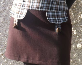 Suit short Nathy Brown and Plaid skirt