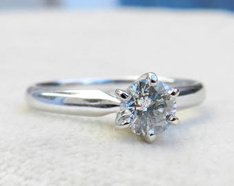 Diamond Engagement Ring 0.5 ct Half Carat Diamond Solitaire Engagement Ring Rount Brilliant Cut Half Carat Diamond 14k white gold
