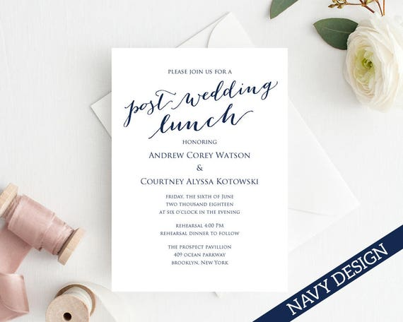 Post Wedding Lunch Invitation Template DIY Printing Custom – Lunch Invitation Template