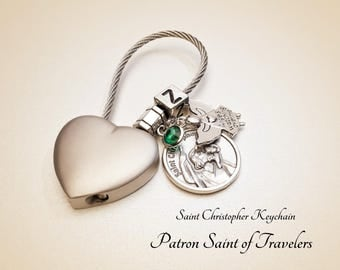 St Christopher Keychain. Stainless Steel Wire, St Christopher Medal, Angel, Crystal Birthstone. St of Travelers. Personalized Keychain #HK5
