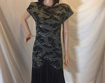 Vintage Sparkly Cocktail Formal Dress Ballroom Dance Dress Black Glitter Design Cap Sleeves