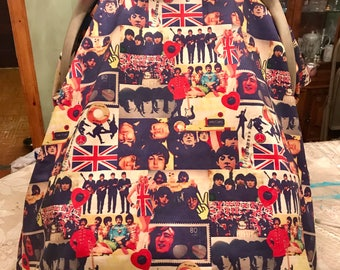 "Handmade ""The Beatles"" Baby Car Seat Cover/Canopy!!"