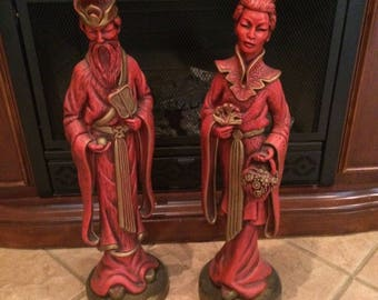 "Vintage mid century universal statuary crop Chicago 1958 Asian statue #5541 and 5540 26""tall"