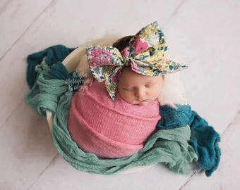 LE FLEUR Gorgeous Wrap- headwrap; fabric head wrap; floral head wrap; boho; newborn headband; baby headband; toddler headband