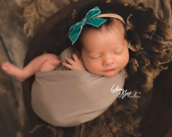 TEAL VINTAGE VELVET Hand-tied Bow (Headband or Clip)- velvet bow headband; velvet bow; newborn headband; baby headband; toddler bow