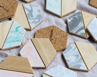 Marbled Hexagon Wooden Coasters Set of Four