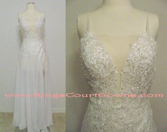 Replica Sexy Open Back Plunging Neckline Beaded Lace and Chiffon Wedding Dress Gown with Slit and Spaghetti Straps