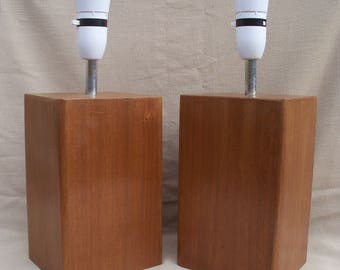 Matching Pair of Solid Wood Lamp 1 - reclaimed solid wood Table Lamp or bedside lamps