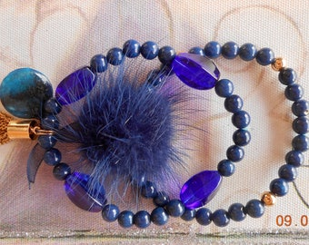 "Bracelet double row ""You Blue"" lapis lazuli ermine fur"