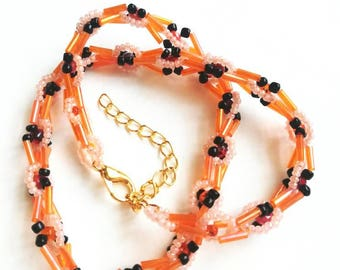 Orange beaded necklace seed handmade jewelry seed beads beadwork gift for her for Mom unique beaded necklace pink orange beaded orange gift