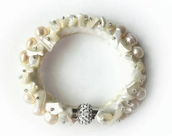 Pearl shell bracelet white gemstone exclusive creamy white beaded cuffs wedding handmade high quality gift for her, gemstones bracelet gift