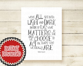 Printables Sirius Black Quote Harry Potter Poster Deathly Hallows Harry Potter Wall Art Muggle Decor We've All Got Both Light and Dark 1016D