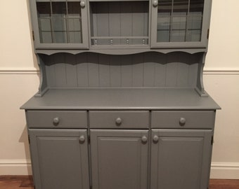 Pine large welsh dresser with leaded doors refurbished in Plummett