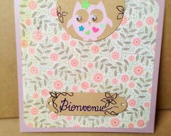 Hand made girl birth card