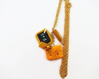 Binder, Slate, fimo idea gift, school pencil necklace
