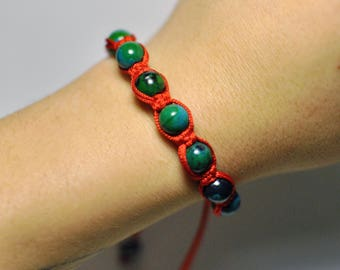 Healing Chakra Macramé Shamballa Bracelet Handmade Adornment with Natural Blue Green Chrysocolla Gemstone Bracelet 15 mm 9 Beads.