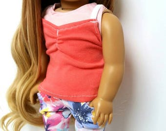 Handmade Floral denim and 2pc layered tanks. Fits 18 inch American Girl Dolls
