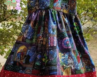 Stained Glass Dress- Beauty and The Beast Dress- Girls Handmade Stained Glass Dress- Beauty and The Beast Dress-
