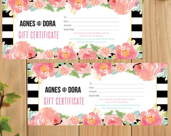 PRINTABLE Agnes and Dora Gift Certificate, Gift For You, Gift Card, Digital File AG029