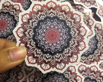 Red Black and Blue Mandala Waterproof Laptop Sticker
