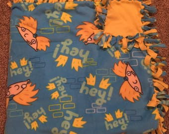 "Hand Made No Sew Fleece Hey Arnold Blanket 61"" x 61"""