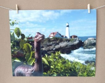 Dinosaur Photo Print, Portland Head Light, Maine