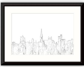 Cork, Ireland Skyline - B & W Thin Line