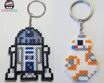 R2D2 or BB8 Star Wars Inspired mini perler beads keychains
