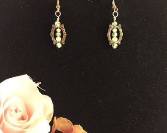 Green and cream crystal beaded earrings