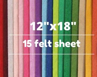15 Merino Wool Felt Sheets, Wool Blend Felt, Wool Felt Fabric, Wool Felt Sheets, Craft Felt Sheets, Merino Wool Felt, Wool Felt Bundle