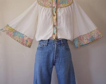 Vintage 1960's  1970's Cotton Gauze Angel Sleeve Blouse, Size-M/L