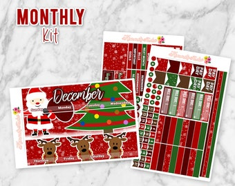 December Dear Santa | Christmas Monthly Overview Planner Sticker kit for Erin Condren Life Planners