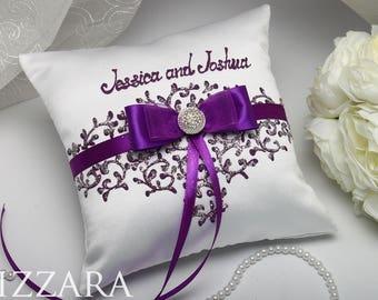 Ring Pillow Plum Wedding Purple Bearer Pillow Silver Wedding Purple Wedding  Ideas Ring Bearer Pillow Wedding