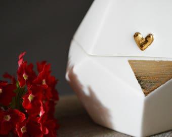 Individual Porcelain Dodecahedron Pot with Gold Embossed Heart (Medium)- Matryoshki Universe- Ceramic, Sacred Geometry, Platonic Solid