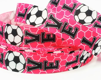 """7/8"""" inch LOVE SOCCER Pretty Pink with Soccer Net Sports Printed Grosgrain Ribbon for Hair Bow - Original Design"""