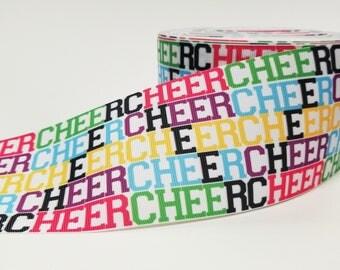 "3"" inch CHEER Cheer team Cheer bows - Printed Grosgrain Ribbon for 3 inch Cheer Hair Bow"