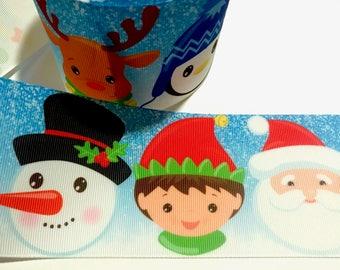"3 inch Christmas Santa Claus Elf Snowman Reindeer Penguin Printed Grosgrain Ribbon Cheer Hair Bow - 3"""