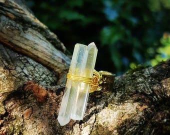 Clear Quartz Crystal Ring, Clear Quartz Crystal Point Ring, Clear Quartz Ring, Clear Quartz, Boho Ring, Hippy Crystal Ring, Crystal Boho