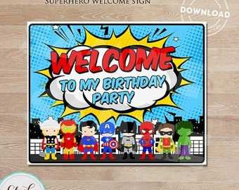 50% OFF SALE Superhero Welcome Sign, Super Hero Birthday Sign, Superheroes Birthday Party Sign, Door Sign, Birthday party decorations INSTAN