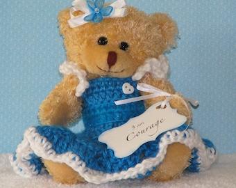 Bear, Handmade, Crochet, Christian, Prayer, Faith, Blue, Ribbon, Bow, Flowers, Hearts, Encouragement, Love, Hope, Courage, Prayer Bear
